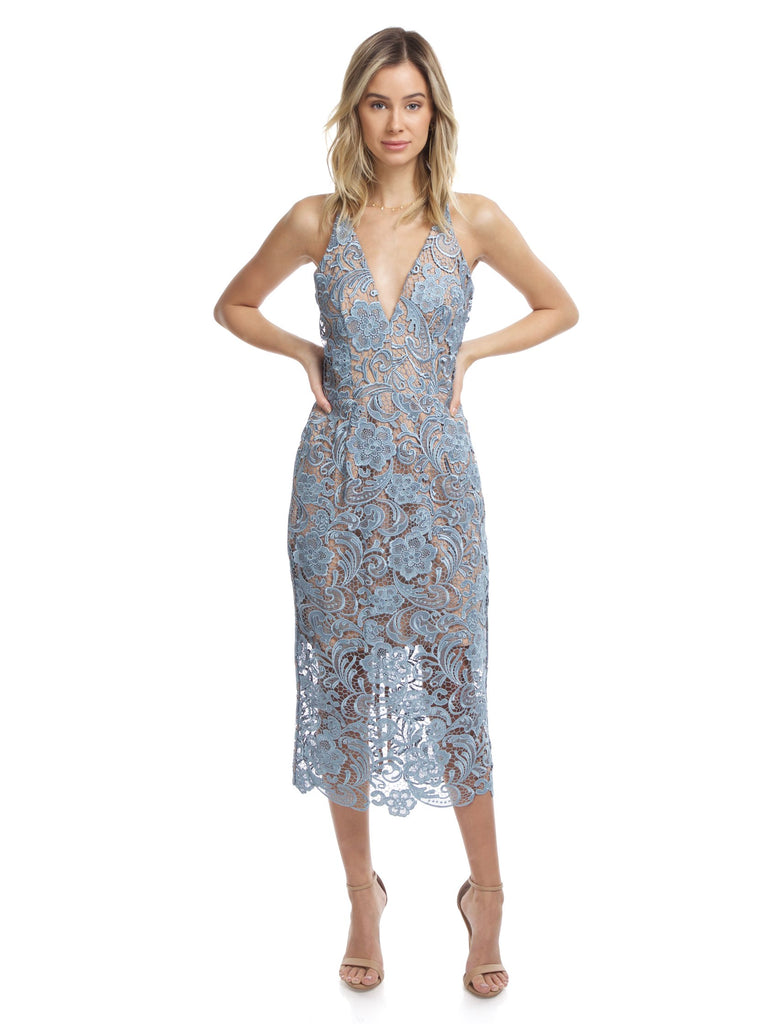 Women wearing a dress rental from Dress the Population called Cassie Sequin Midi Dress