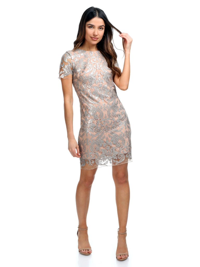 Woman wearing a dress rental from Dress the Population called Cassie Sequin Midi Dress
