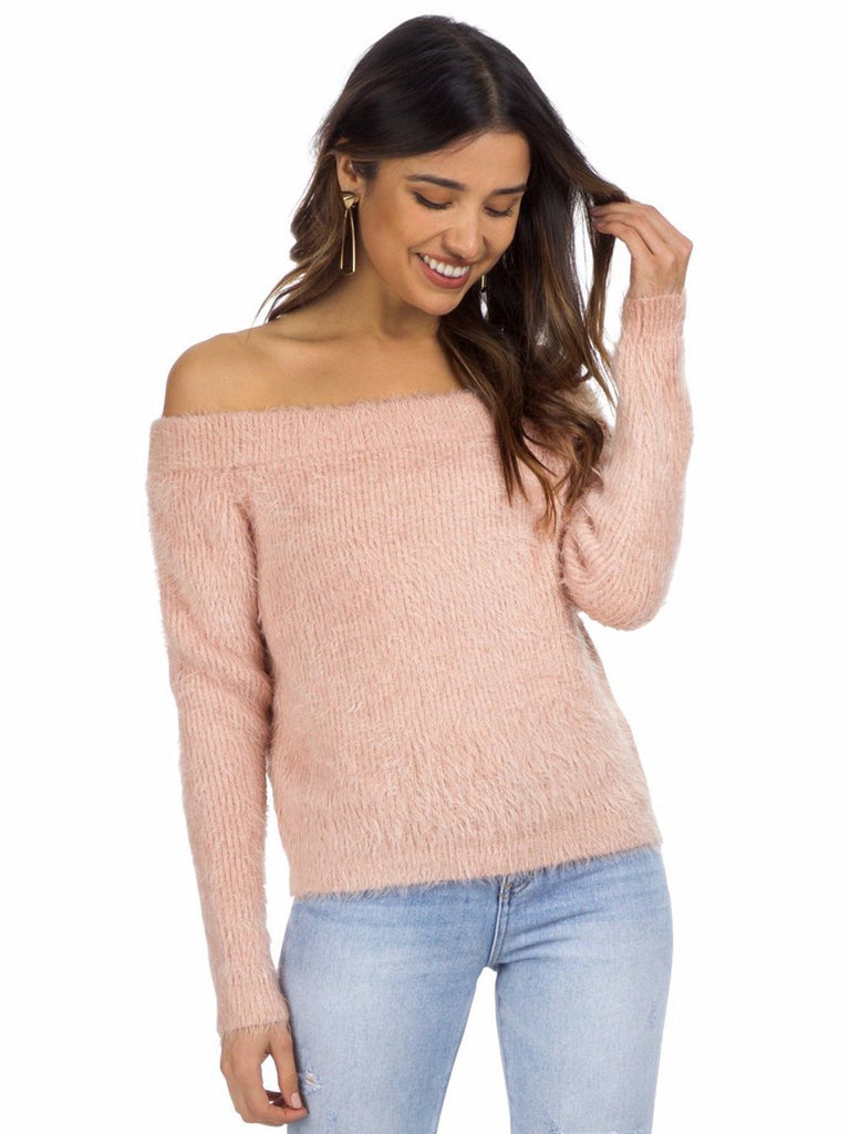 Women wearing a sweater rental from MINKPINK called Florentine Off Shoulder Sweater