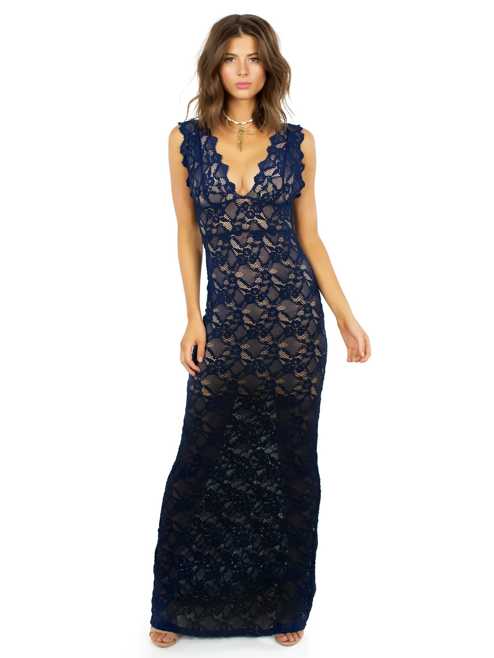 Women outfit in a dress rental from Nightcap Clothing called Perfect Plunge Maxi Dress