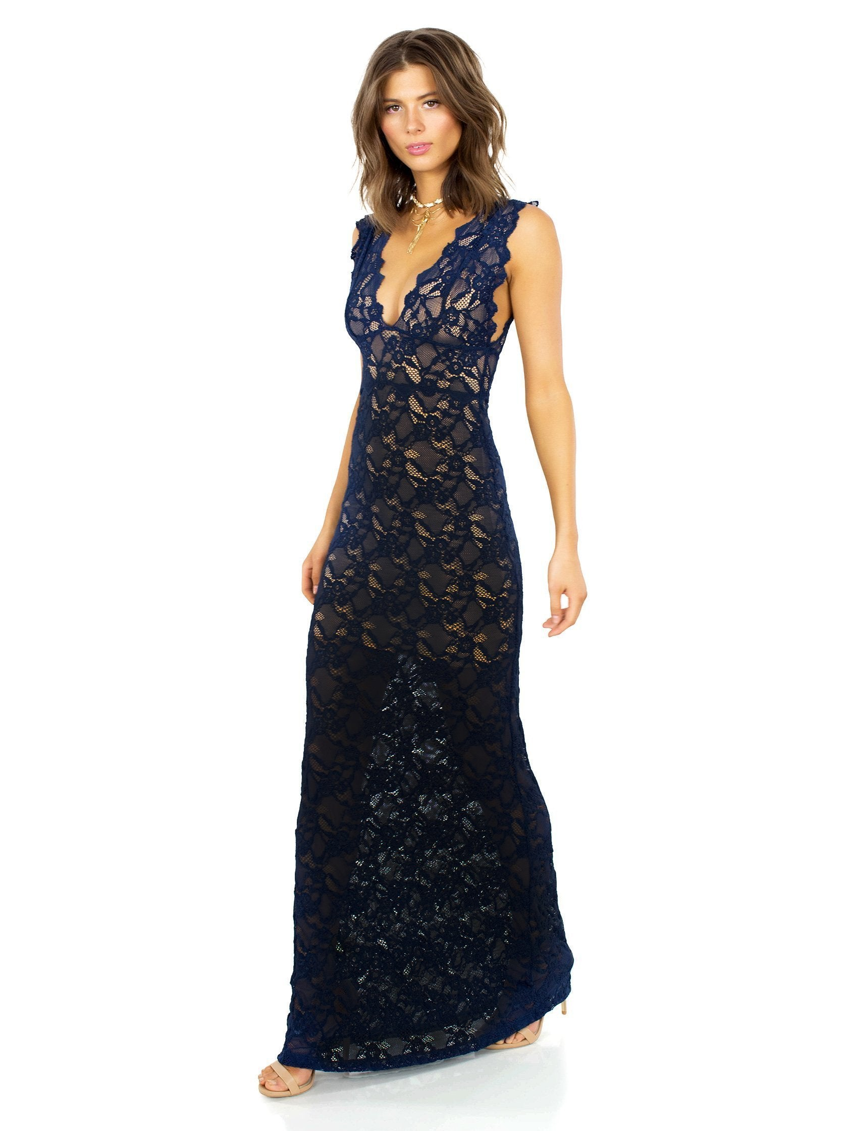 Woman wearing a dress rental from Nightcap Clothing called Perfect Plunge Maxi Dress