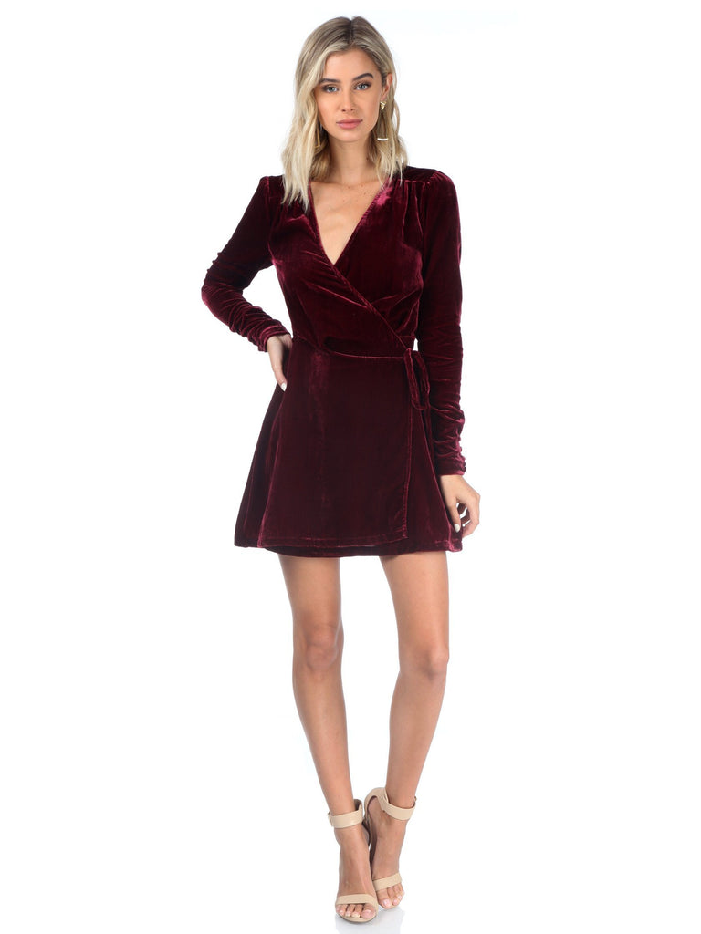 Women outfit in a dress rental from Privacy Please called Velvet Burnout Mock Dress
