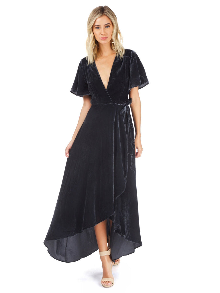 Woman wearing a dress rental from Privacy Please called Kesen Maxi Dress