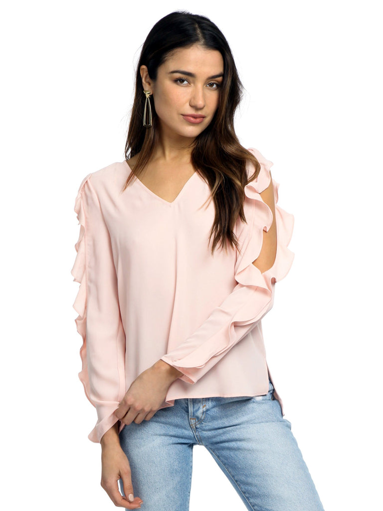 Women wearing a top rental from 1.STATE called Ruffle Cold Shoulder Top