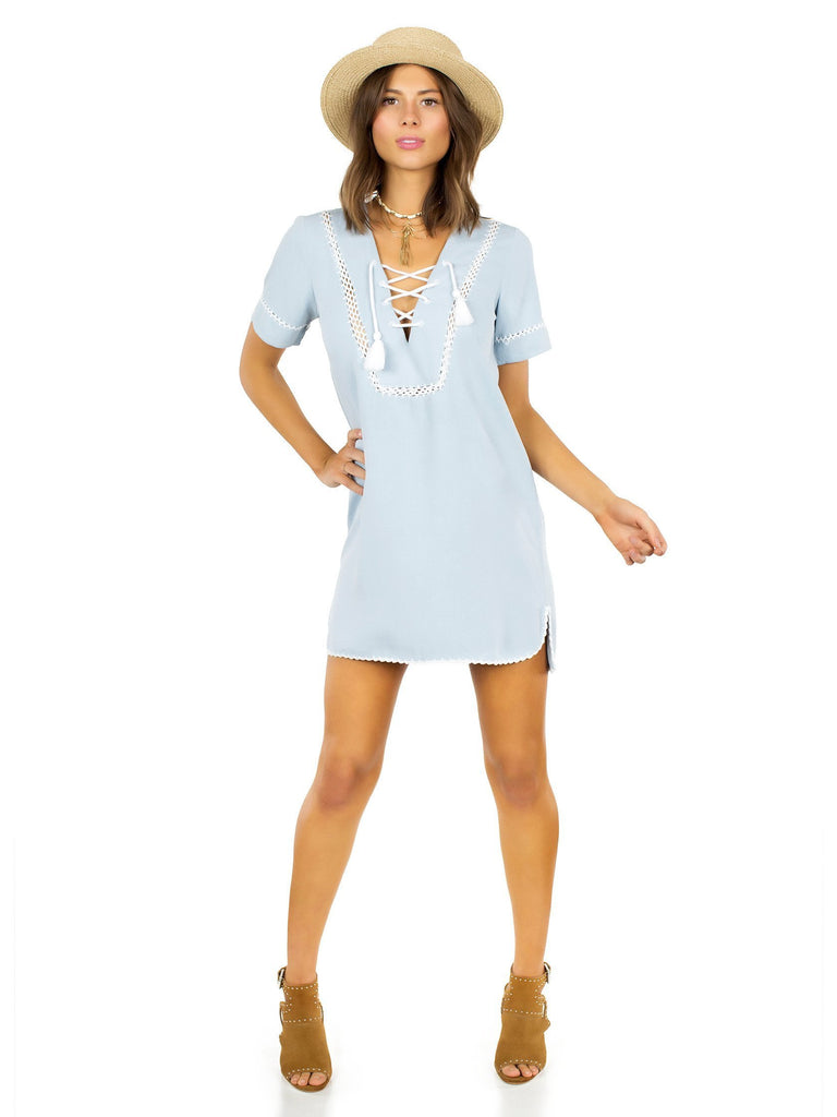 Women outfit in a dress rental from Saylor called All My Love Midi Wrap Dress