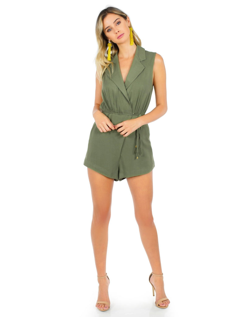 Woman wearing a romper rental from STYLESTALKER called Kesen Maxi Dress