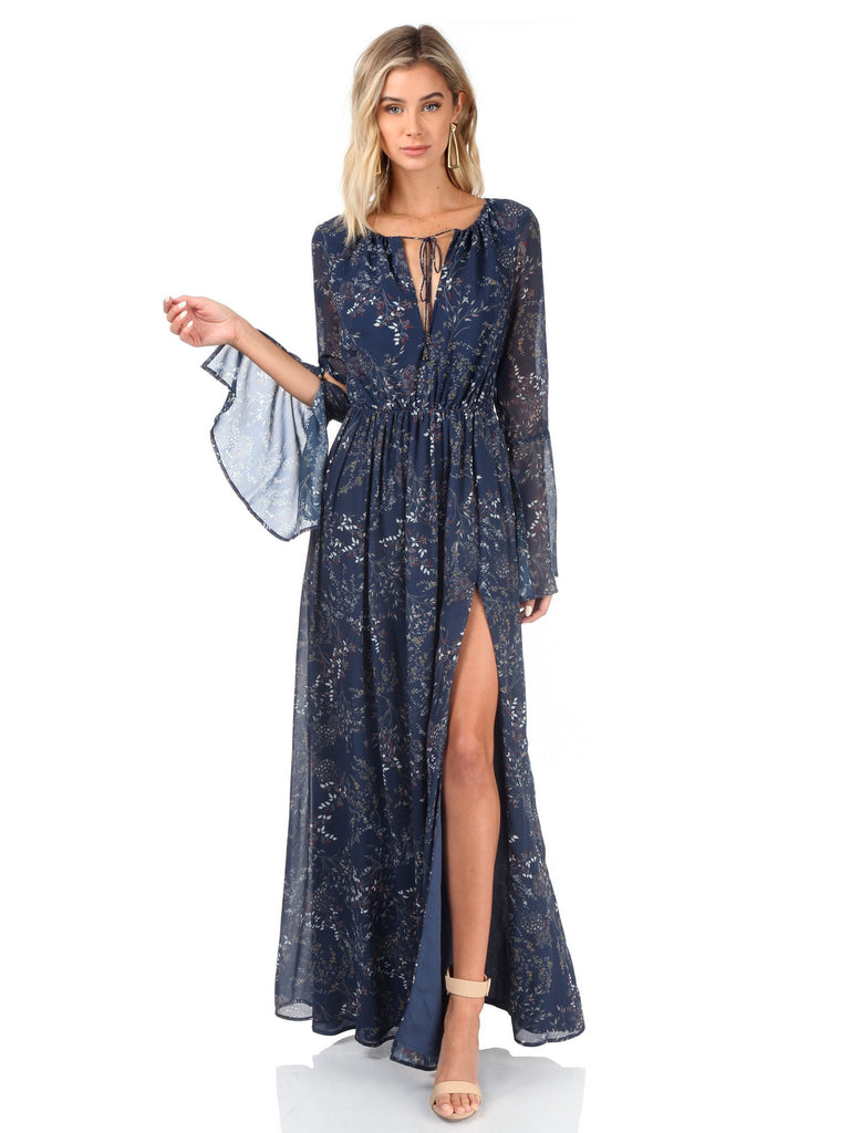 Woman wearing a dress rental from The Jetset Diaries called Velvet Saskia Maxi Dress