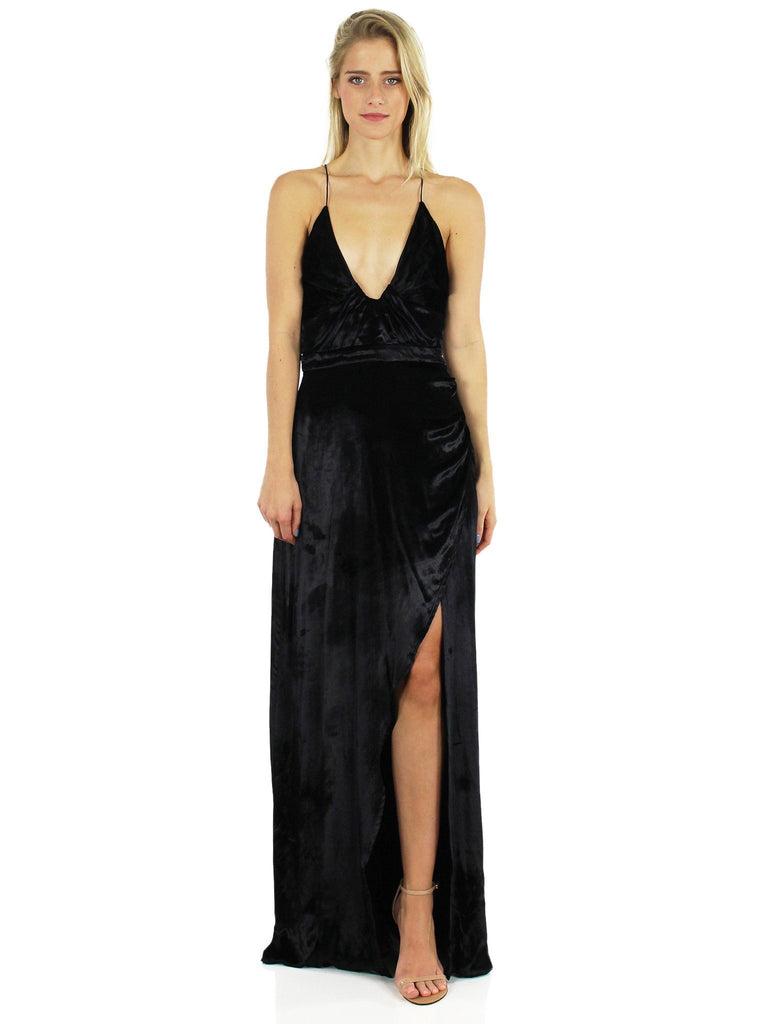 Woman wearing a dress rental from The Jetset Diaries called Allegra Faux Wrap Maxi Dress