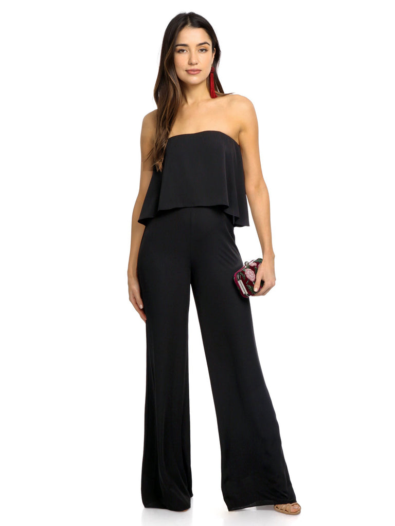 Women wearing a jumpsuit rental from Amanda Uprichard called Topanga Jumpsuit