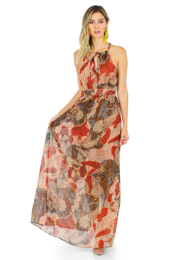 Women wearing a dress rental from WYLDR called Paint The Sky Maxi Dress