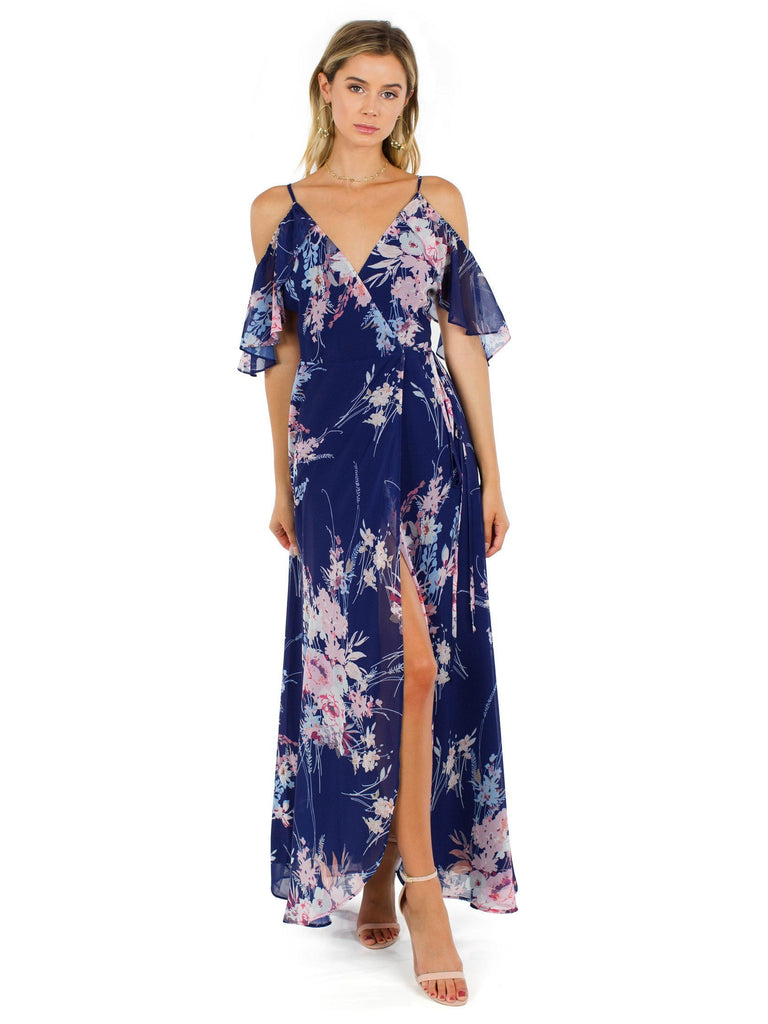 Women outfit in a dress rental from YUMI KIM called Allegra Faux Wrap Maxi Dress