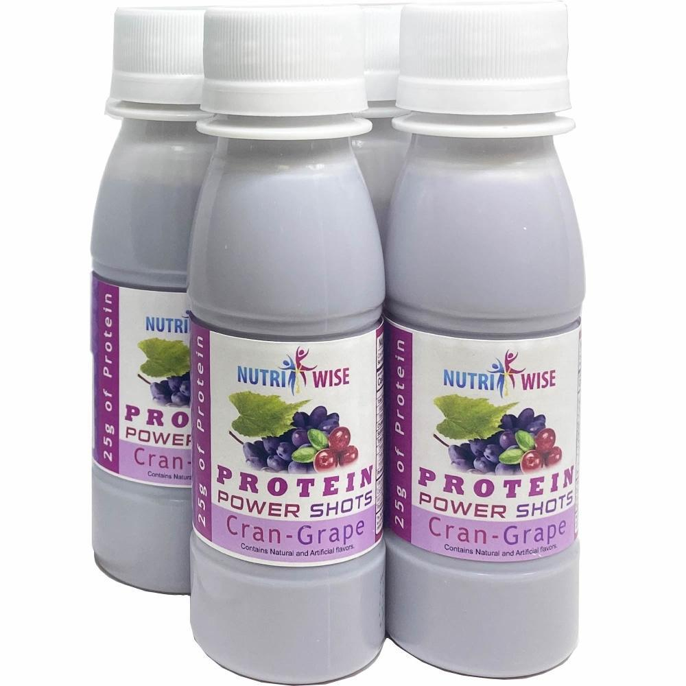 Power Protein Cran-Grape 25G (4-Pack Bottles) - NutriWise - Vitamins & Supplements