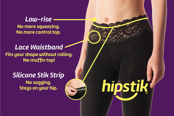Hipstik Features a patent-pending lace band with stay-put benefits