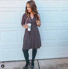 gray tights with patterned dress - what to wear with gray tights