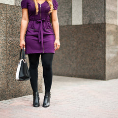 purple dress cute outfits with black tights