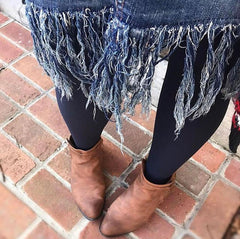 denim skirt cute outfits with black tights