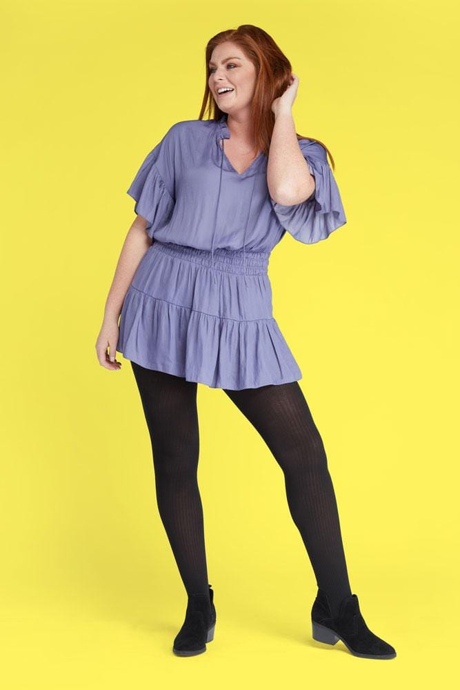 Plus Size Ribbed Tights with Cute Short Dress