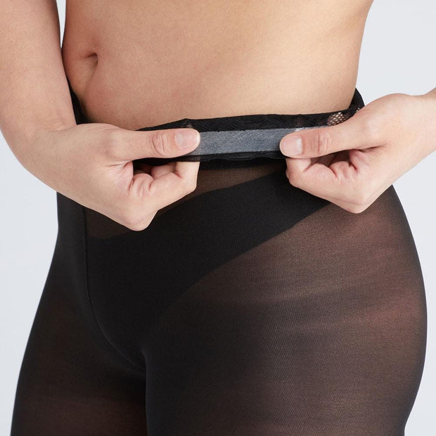 Semi-Opaque Tights In Black With Comfortable Low Rise Luxe Waistband 1