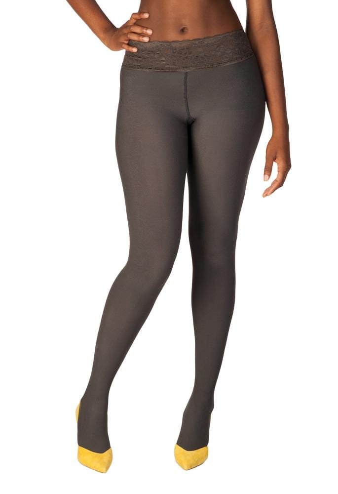 Gray, Opaque Comfort Lace Top Tights