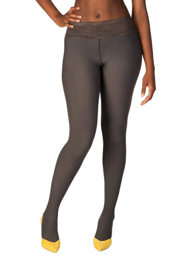 Gray, Opaque Low-rise Tights
