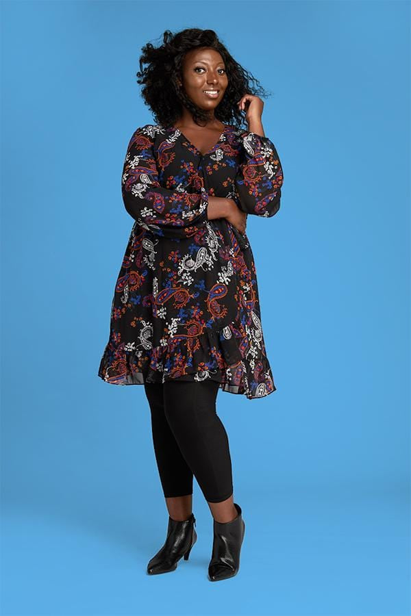 Plus Size Footless Tights in Black with Dress and Ankle Boots