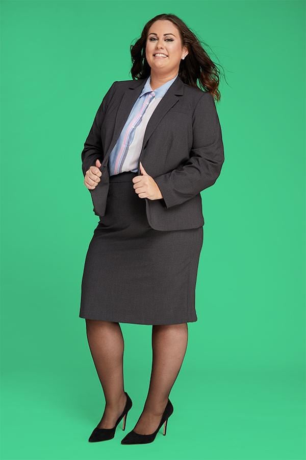 Plus SIze Model in Black Sheer Pantyhose and Business Outfit