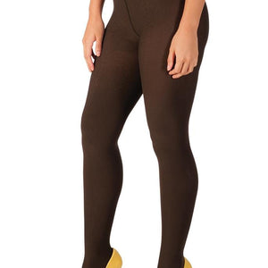 Brown, Opaque Low-rise Tights