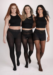 black opaque, black semi opaque, and black sheer tights