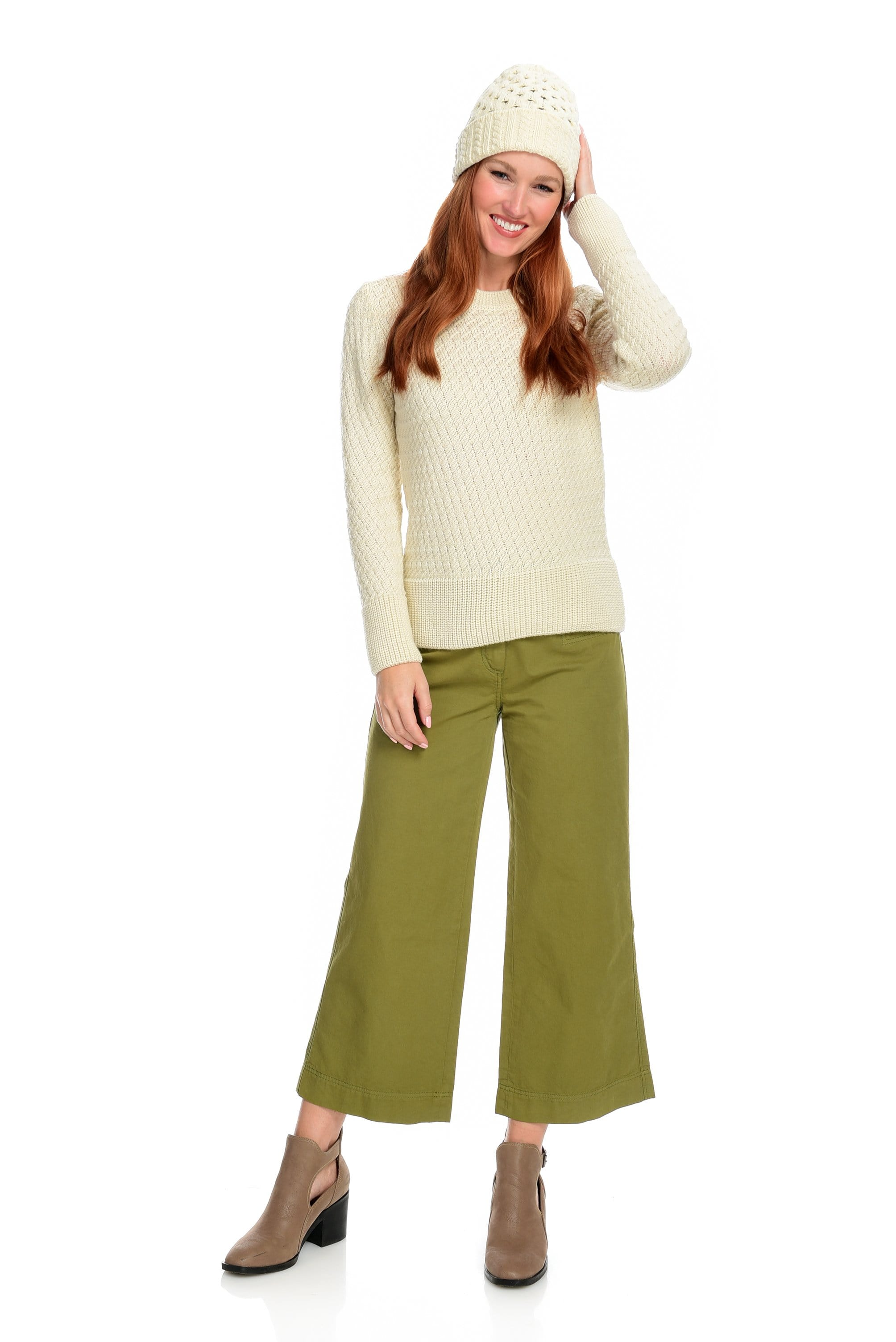 Wide Leg Cropped Twill Pant - Olive