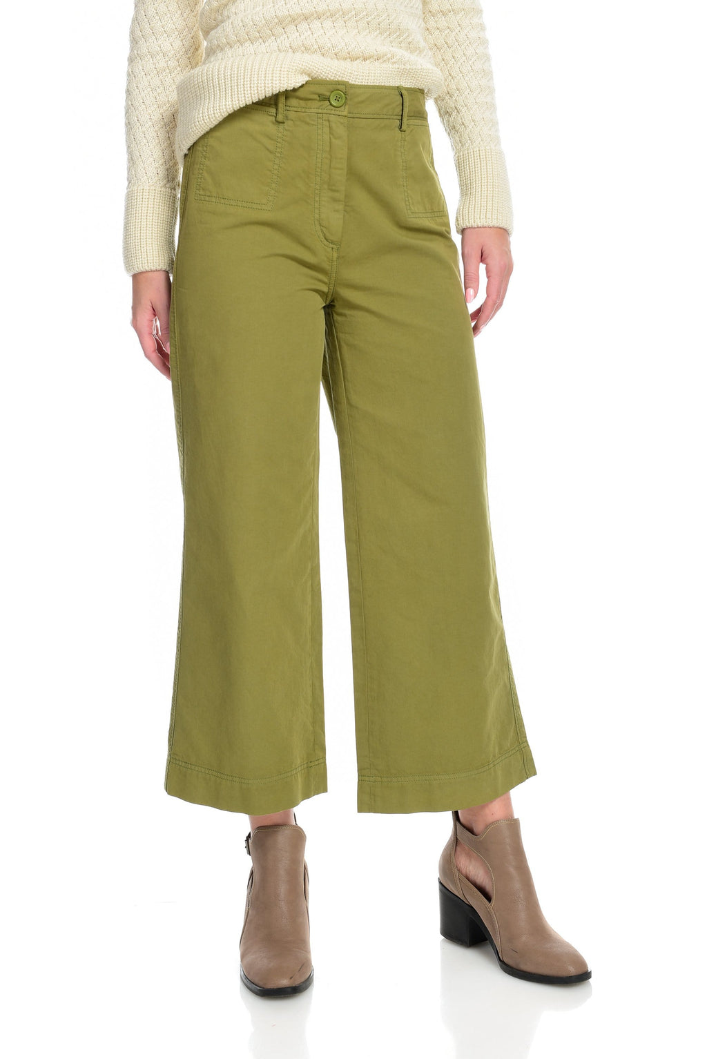 Wide Leg Cropped Twill Pant - Safari Green