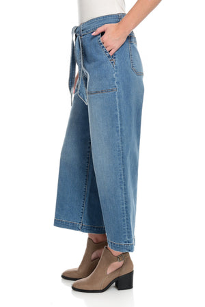 Wide Leg Cropped Jean - Medium Indigo