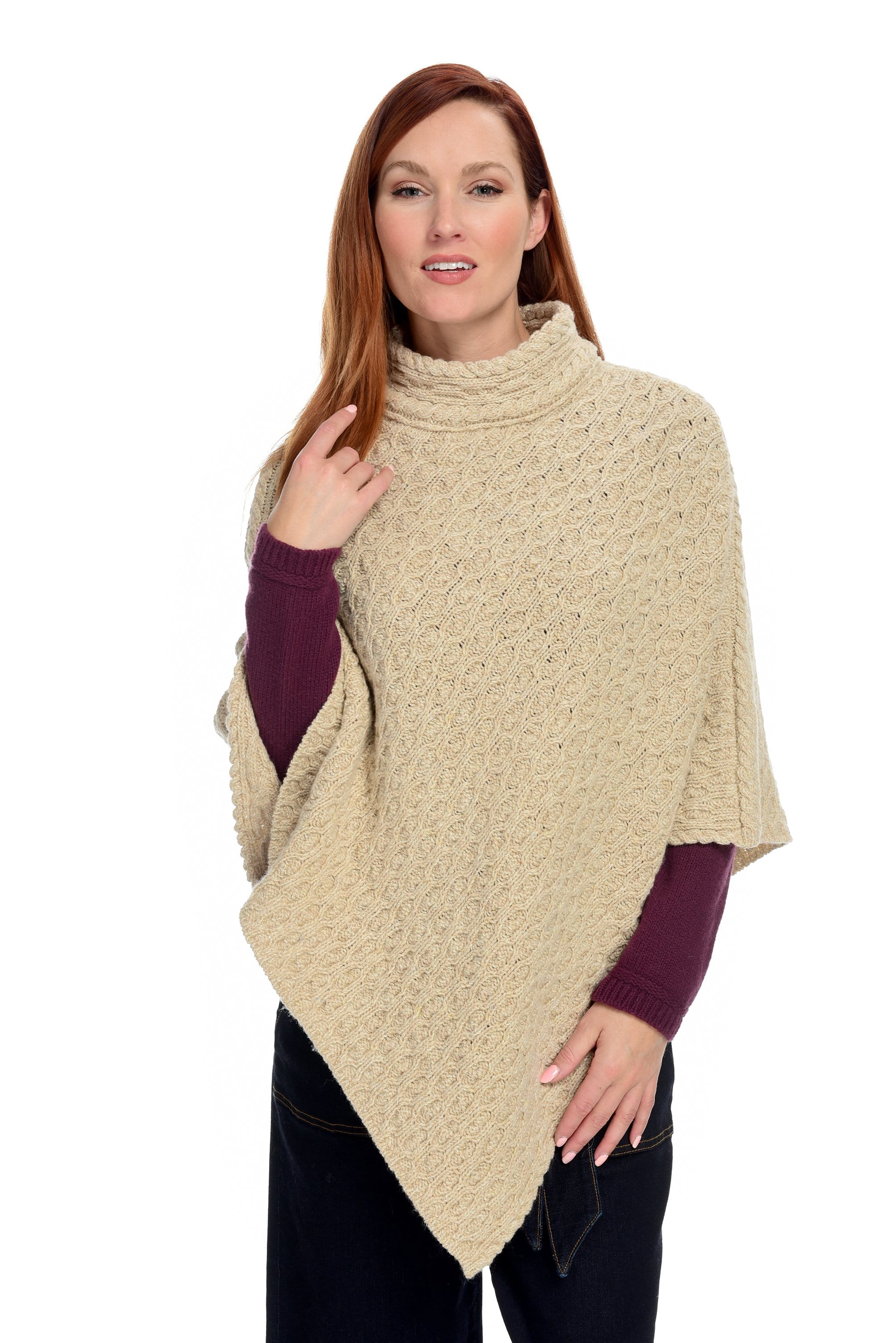 Newport High Neck Cable Irish Poncho