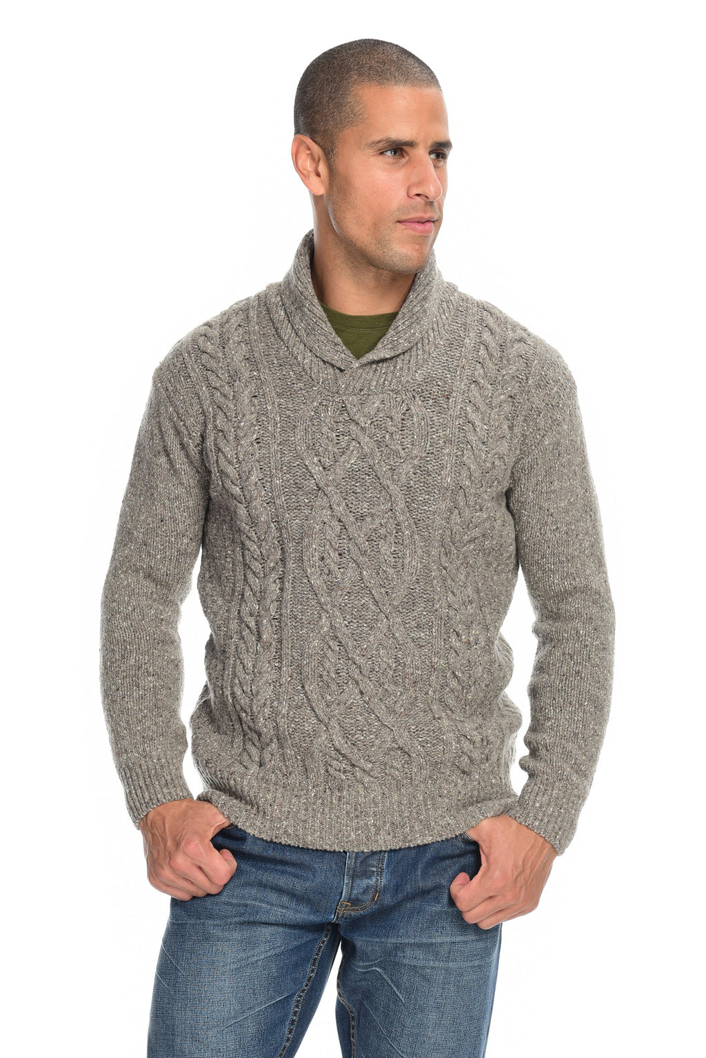 Knitted Clonard Shawl Collar Cable Irish Pullover Men's