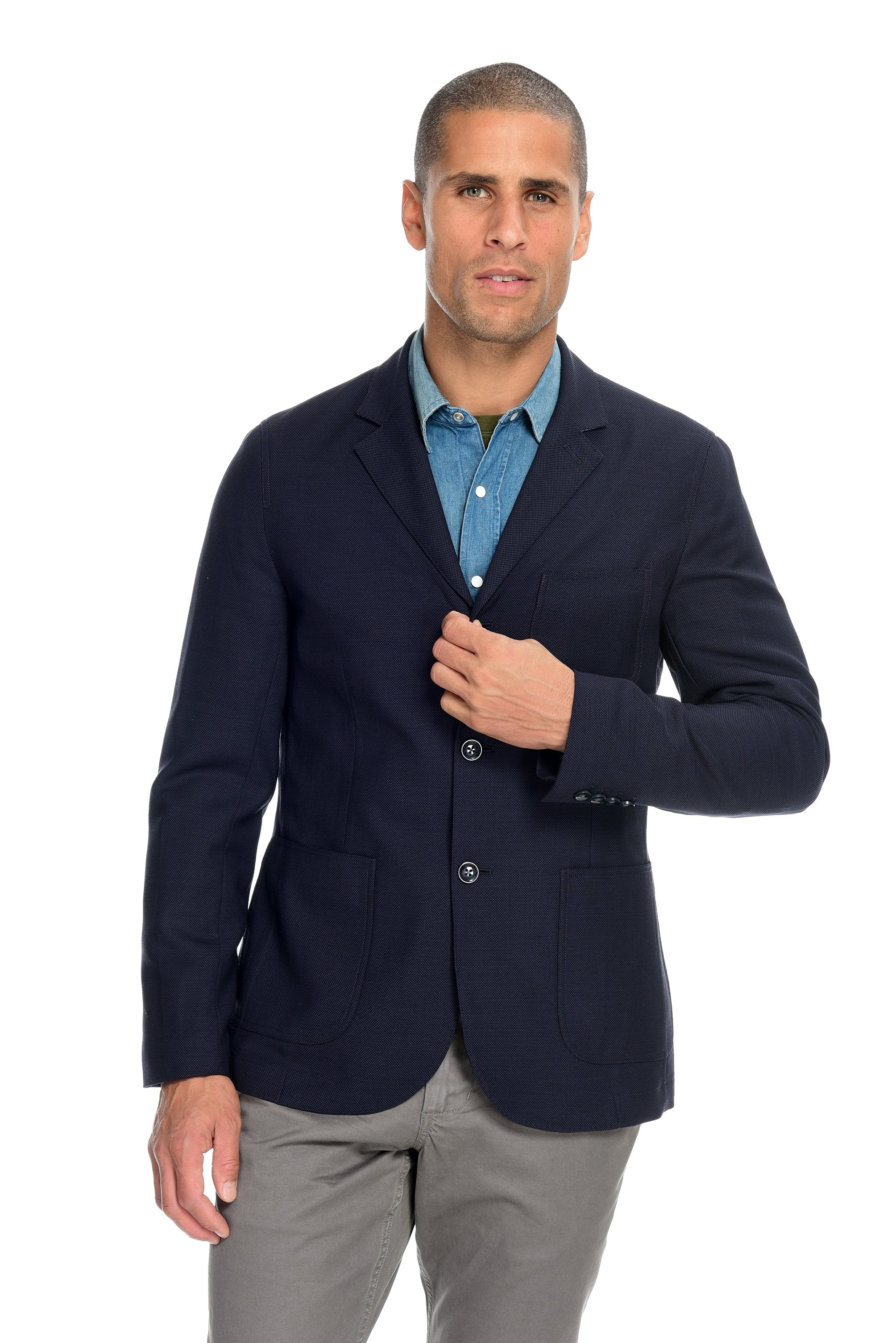Hopsack Deep Navy Blazer Men's