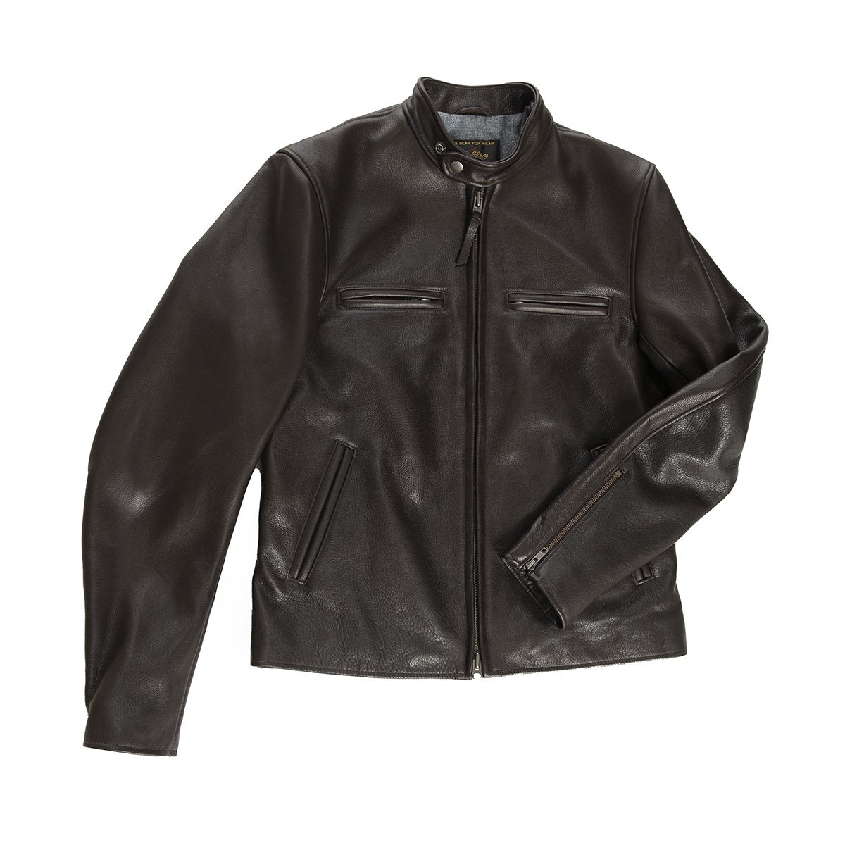 Leather Brannan Moto Jacket Banded Collar