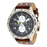 45mm Quartz Chronograph Leather Strap Watch