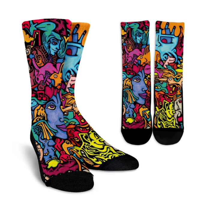 Inner Art World Colorful Crew Socks by Visionary Artists