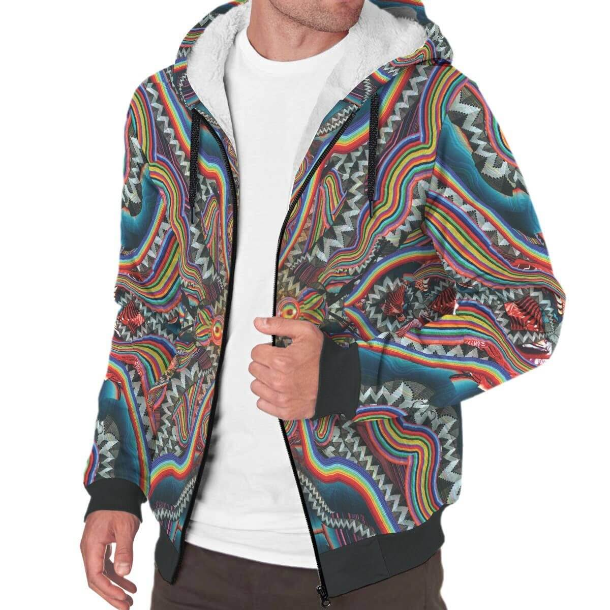 Inner Art World Colorful Sherpa Hoodie Designs by Visionary Artists