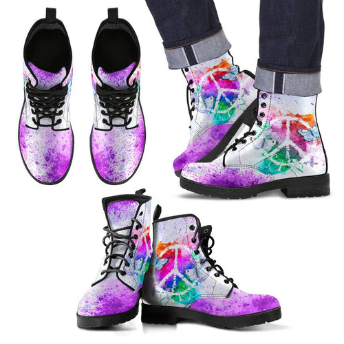 Colorful Peace and Butterflies Boots
