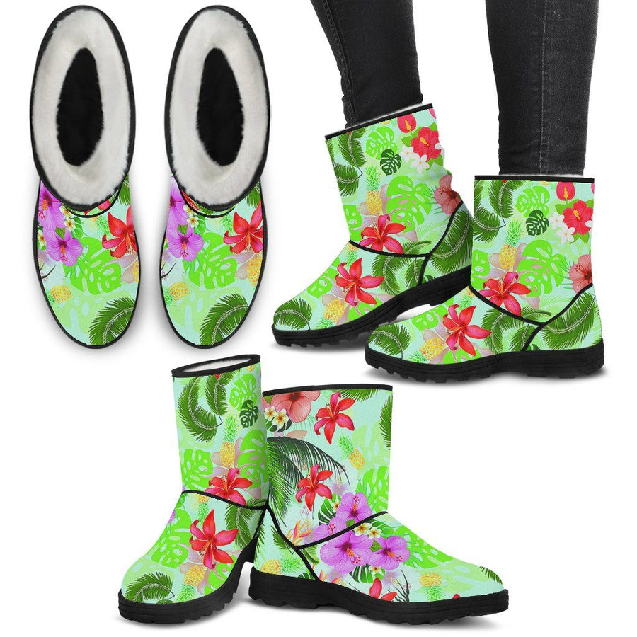 Boots - Tropical Flower Faux Fur Boots [EXPRESS]
