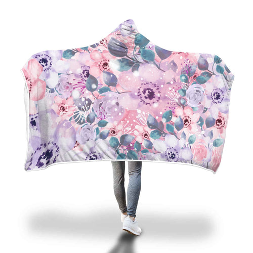 VINTAGE FLOWERS HOODED BLANKET