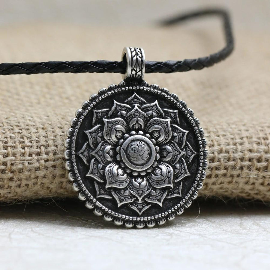 Jewelry - Antique Silver Lotus Mandala Necklace