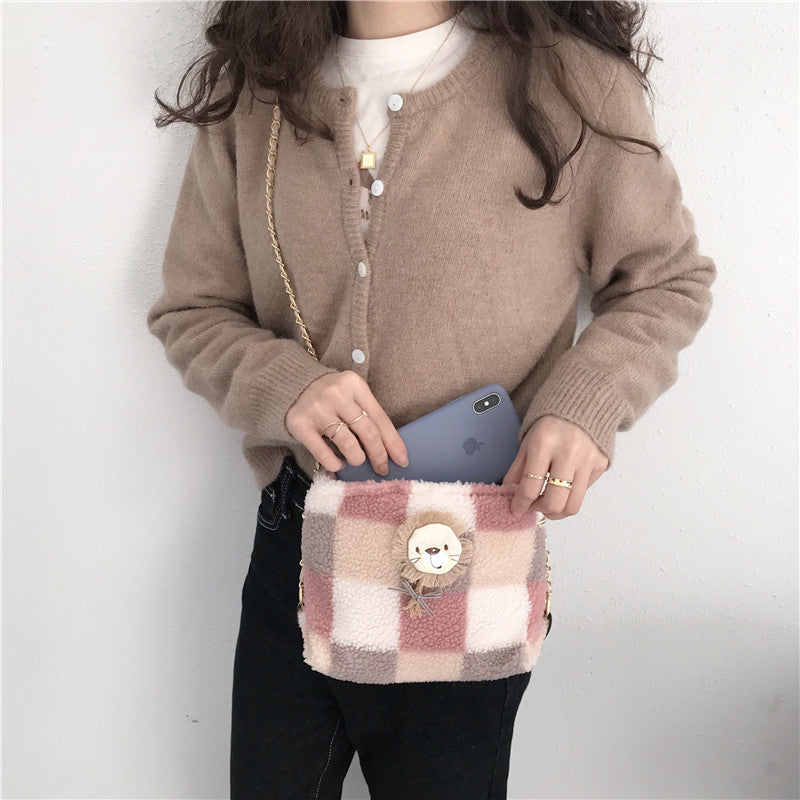 AW Lion Checkered Shoulder Bag