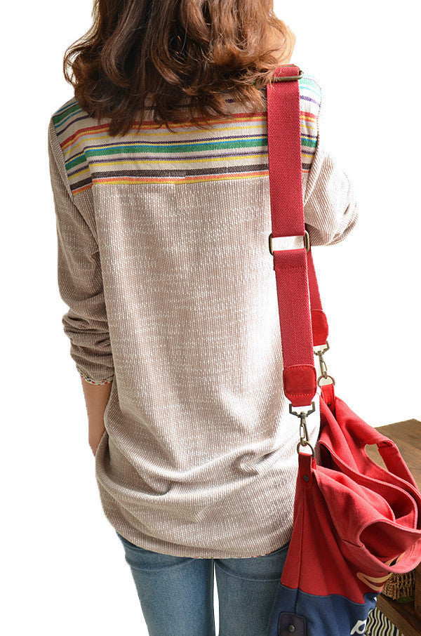Summer Geometric Patchwork Blouse