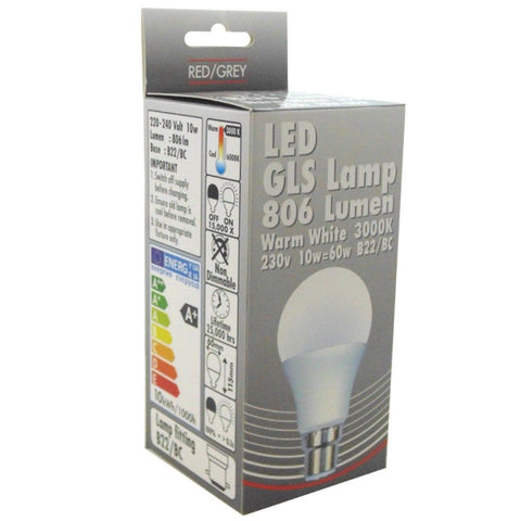 Led Bulb Gls 10w 806 Lumens Non Dimmable B22 Bayonet Warm White 60w Equivalent-Bob Gnarly Surf