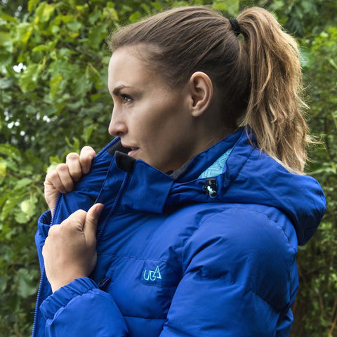 Womens Blue Puffa Jacket Waterproof Breathable-Bob Gnarly Surf