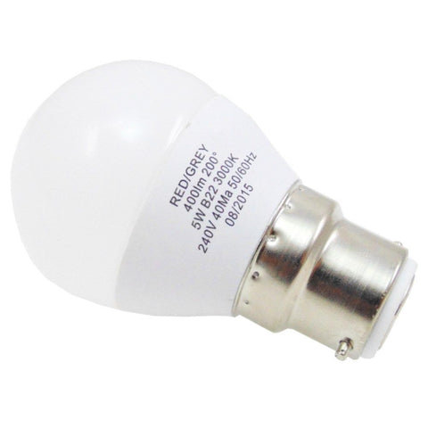Led Bulb Golf Ball 5w 400 Lumen Non Dimmable B22 Bayonet Bc Warm White 35w Equiv