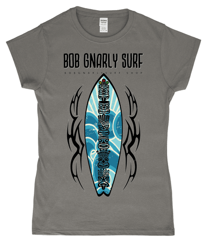 Tribal Tiki Surf Board Ladies Classic Fitted T-Shirt