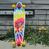 "40"" Pintail Tie Dye Red Longboard - Bob Gnarly Surf"