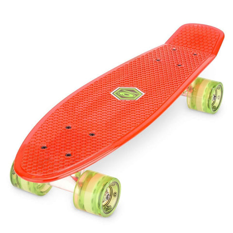 "Retro Plastic Red Mini Cruiser 22.5"" Skateboard-Bob Gnarly Surf"